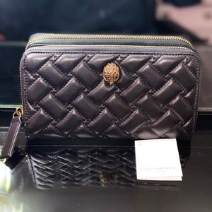 NEW! Kurt Geiger Eagle Quilted Leather Zip Wallet